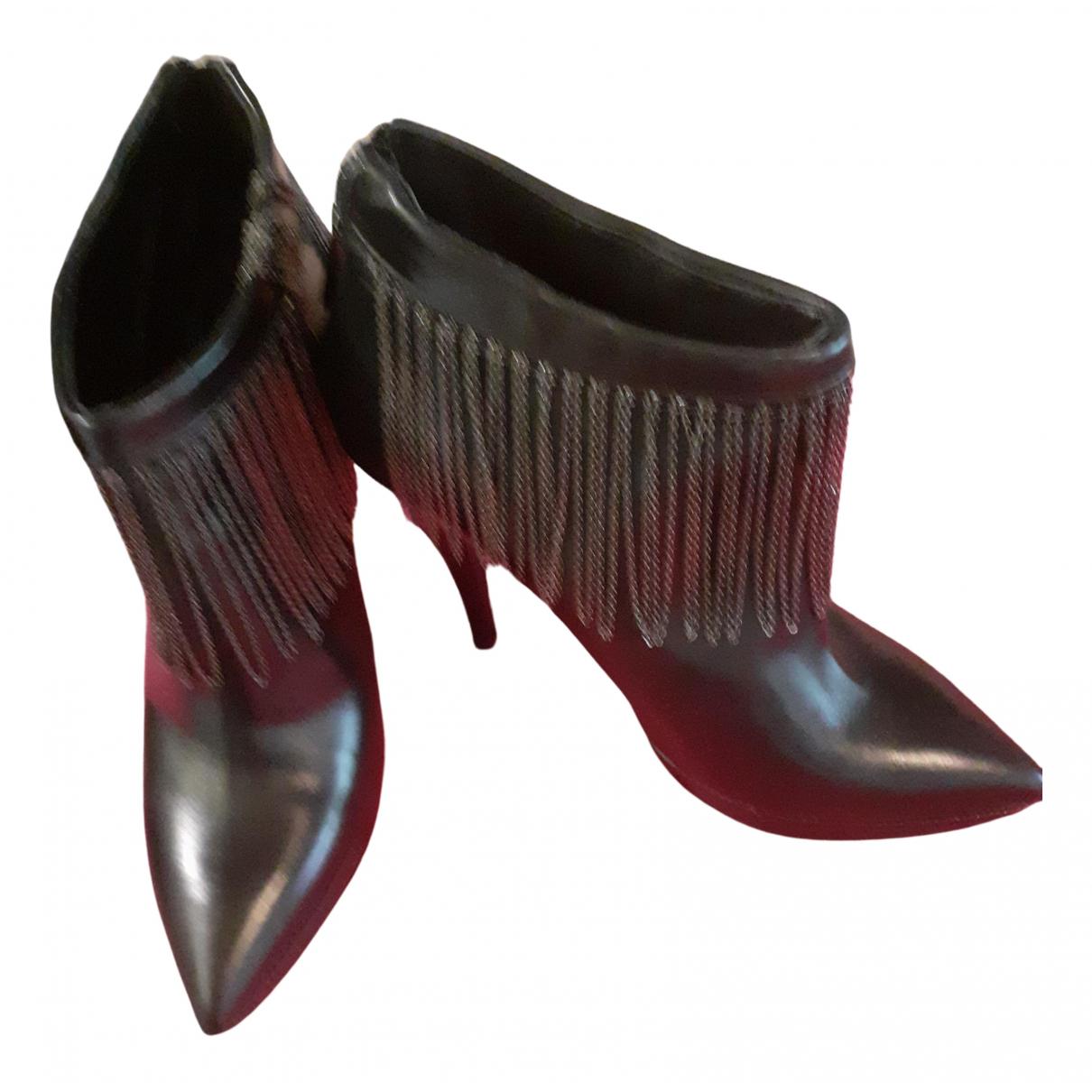 Mugnai - Boots   pour femme en cuir - noir