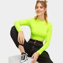 Neon Green Mock-neck Slim Fitted Crop Top