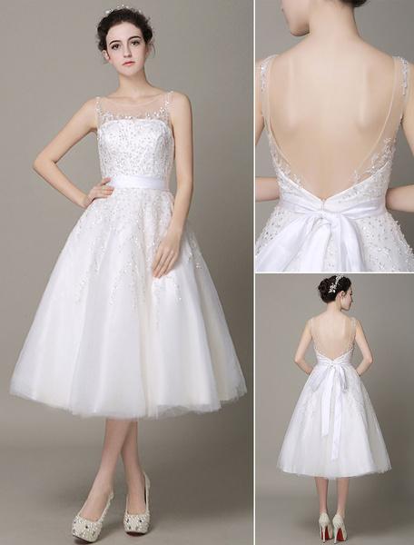 Milanoo Marfil Vestido de novia de tul Escote transparente con bordado hasta la pantorrilla