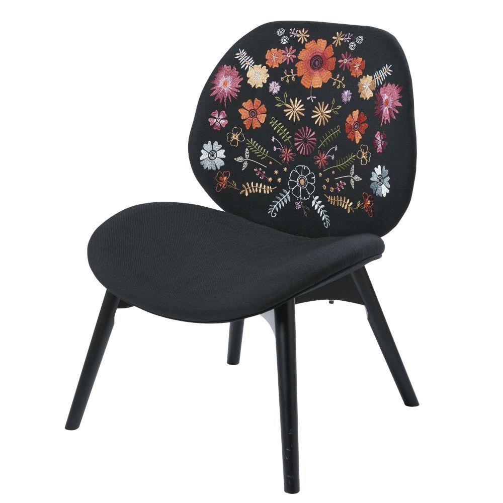 Sessel schwarz mit farbigen Blumenstickereien Bobby