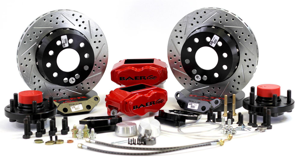 Baer Brakes Brake System 11 Inch Front SS4+ Red 58-70 GM Full Size Car Requires CPP 2 Inch Drop Spindle
