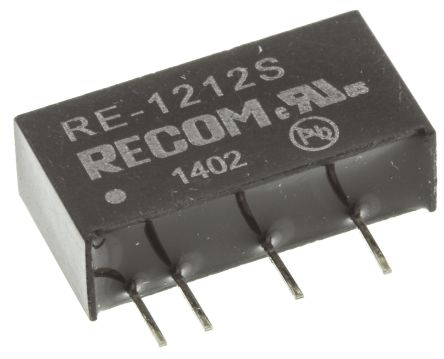Recom RE 1W Isolated DC-DC Converter Through Hole, Voltage in 10.8 → 13.2 V dc, Voltage out 12V dc