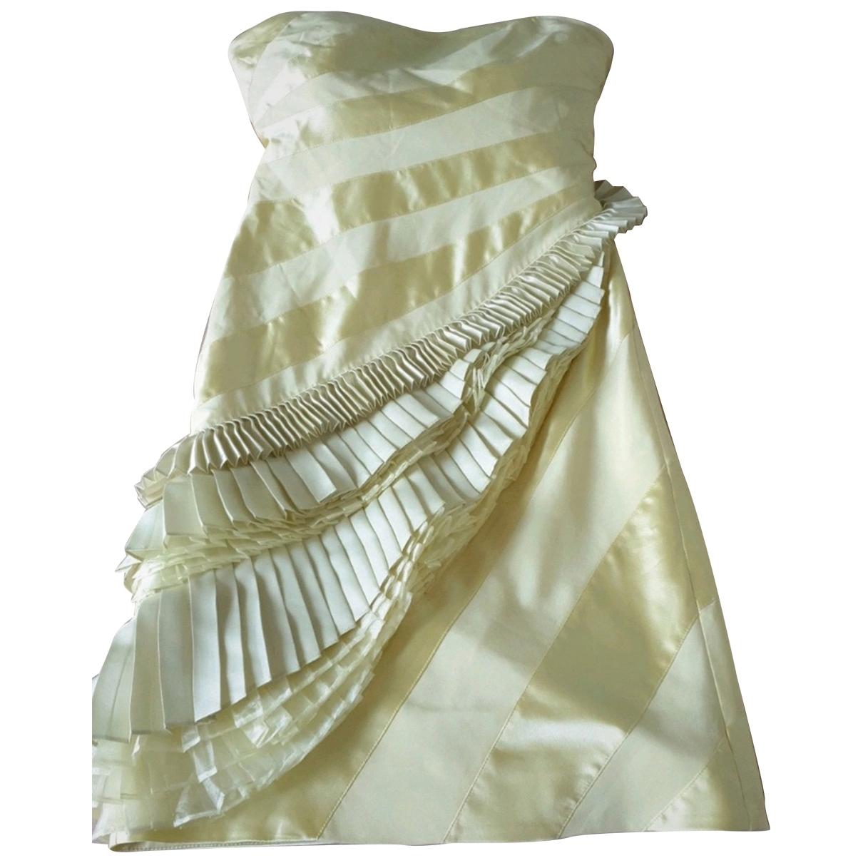 Karen Millen - Robe   pour femme en coton - elasthane - jaune