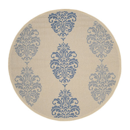 Safavieh Ray Floral Round Indoor/Outdoor Rugs, One Size , Blue