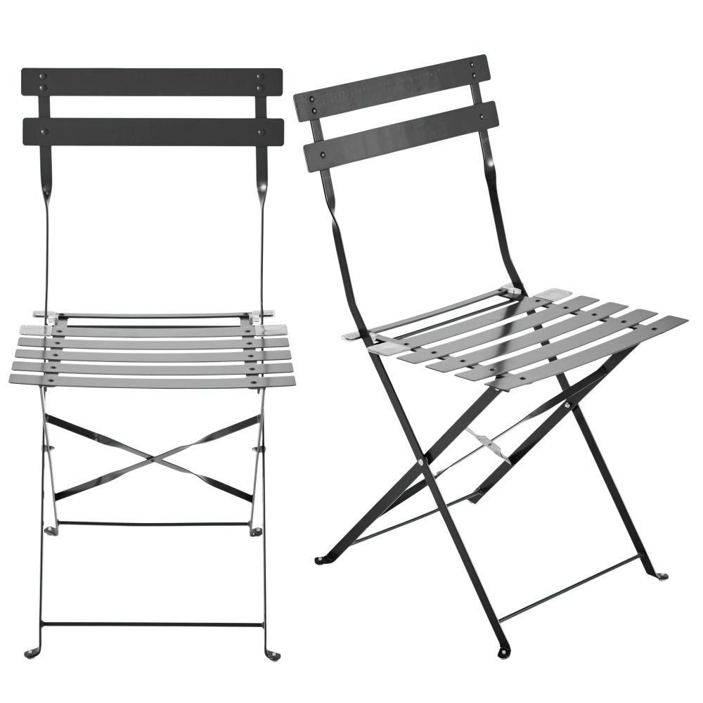 2 Klappgartenstuehle aus Metall, taupe Confetti Guinguette