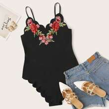Plus Floral Embroidered Scallop Cami Bodysuit