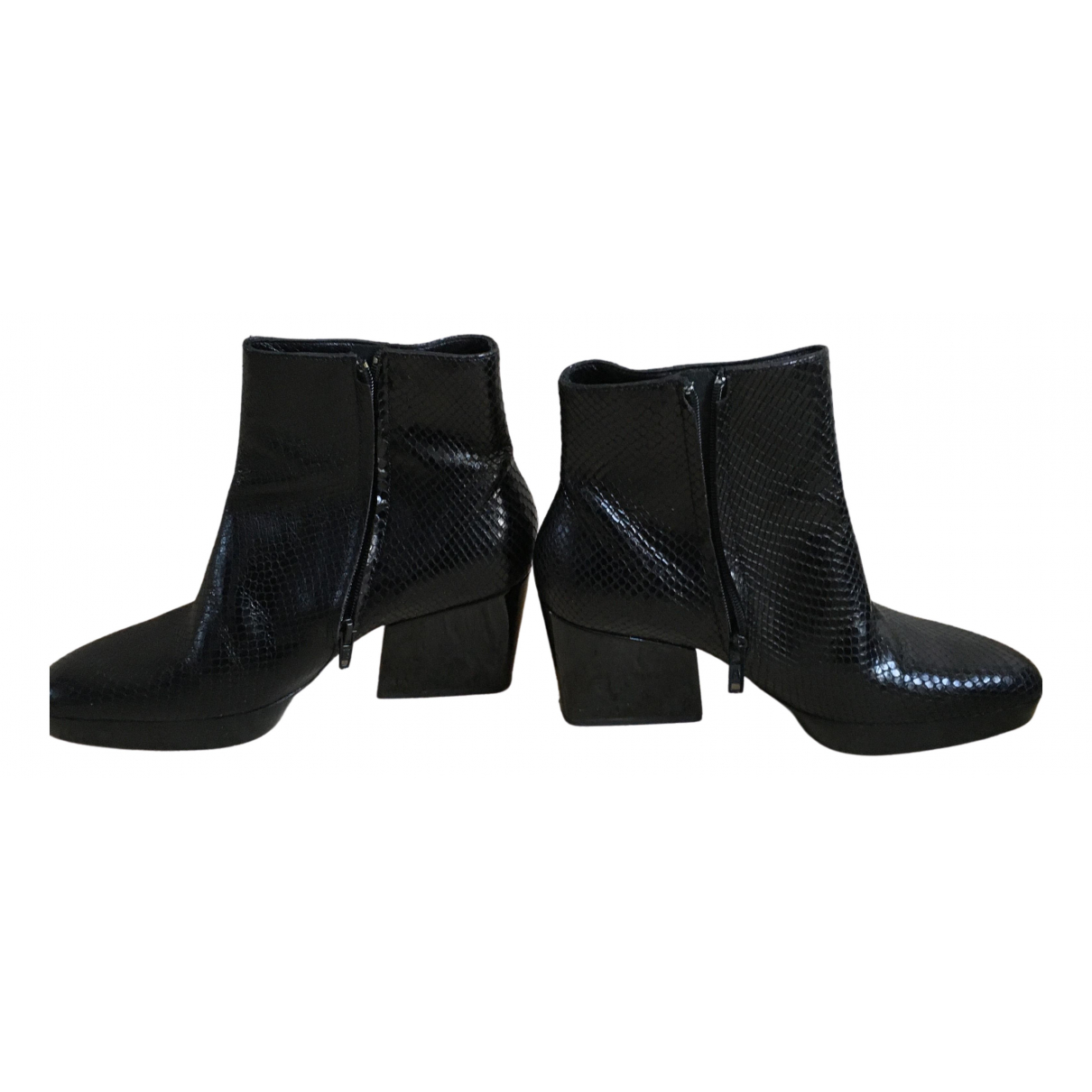 Robert Clergerie N Black Leather Ankle boots for Women 7.5 US