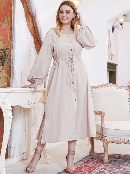 Yoins Plus Size Khaki Front Button Drawstring Waist Slit Design Dress
