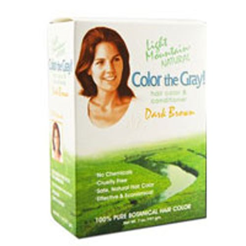Color The Gray, Natural Hair Color & Conditioner Brown-Dark 7 Oz by Light Mountain