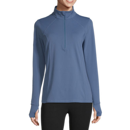 Xersion Womens Mock Neck Long Sleeve Quarter-Zip Pullover, X-large , Blue