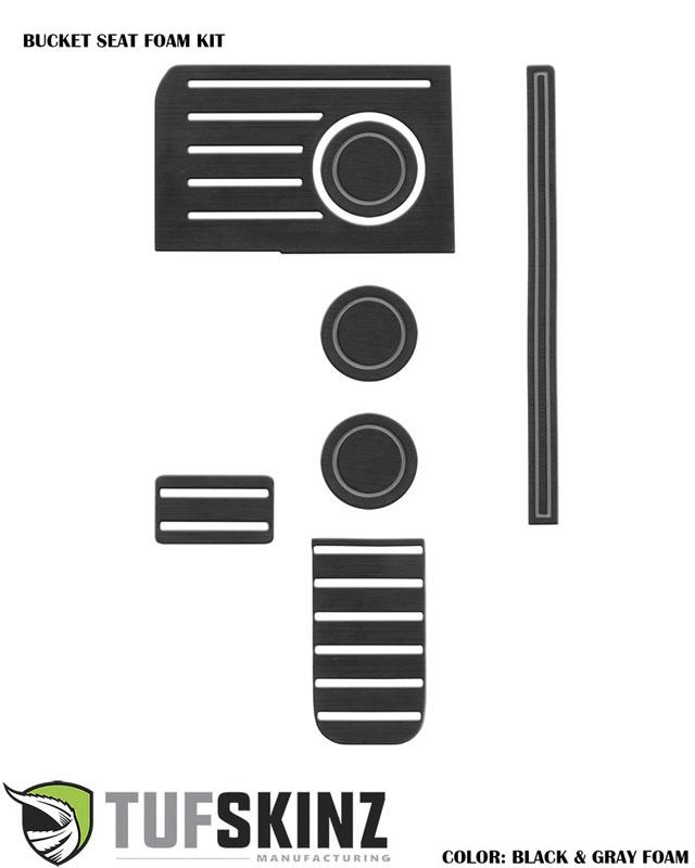Tufskinz TUN003-FGY-X Interior Cup Holder Inserts Fits 14-up Toyota Tundra W/Bucket Seats 7 Piece Kit Black/Gray