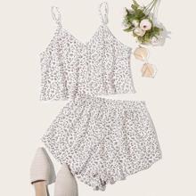 Conjunto de pijamas de tirante floral de margarita