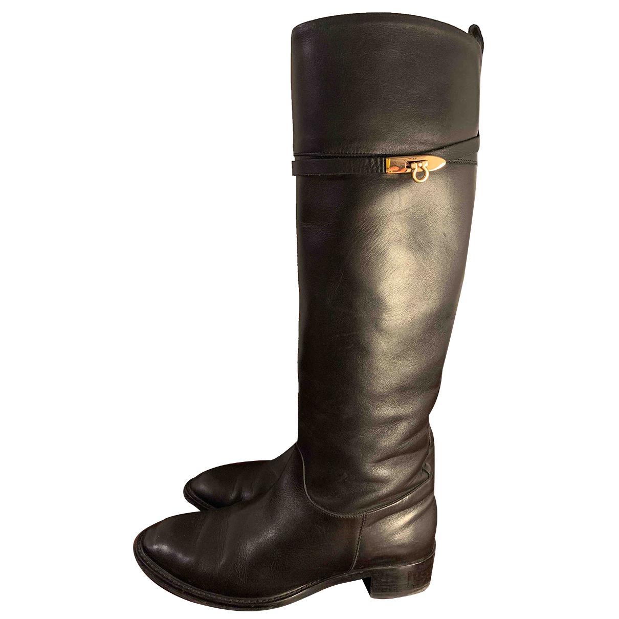 Salvatore Ferragamo N Black Leather Boots for Women 9 US