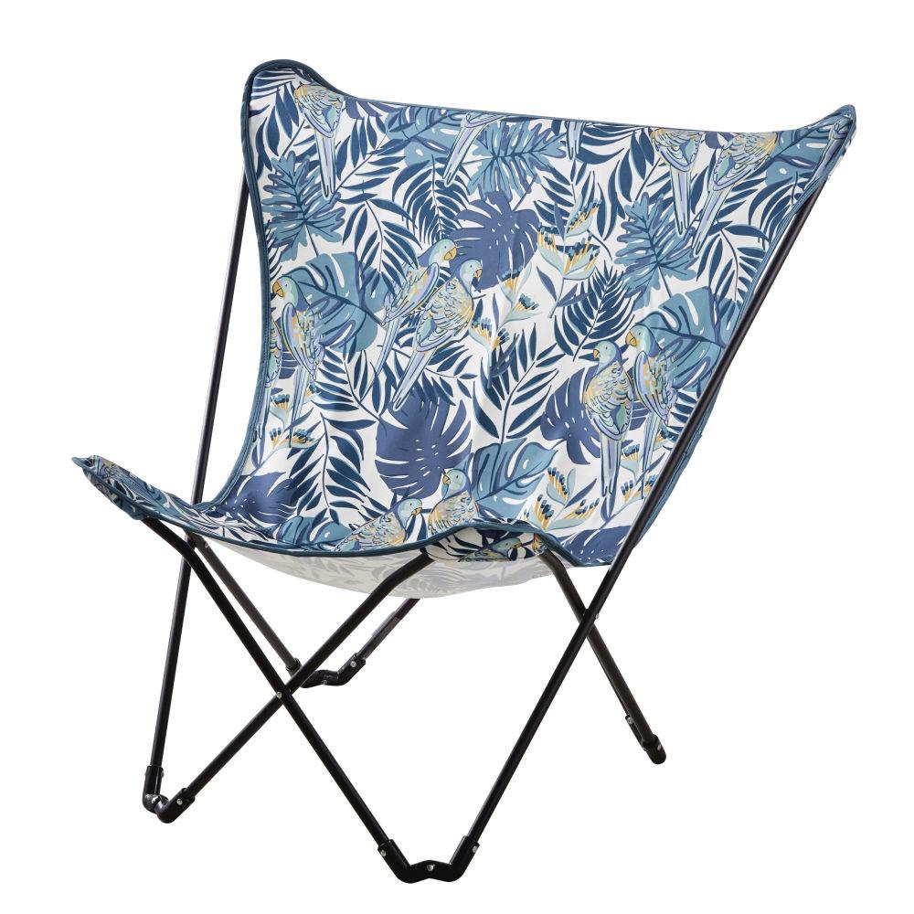 Garten-Schmetterlingssessel aus schwarzem Metall und blauem Stoff mit Druckmotiv Sphynx