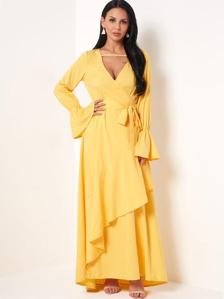 Yoins Yellow V-neck Tie Waist Long Wrap Dress