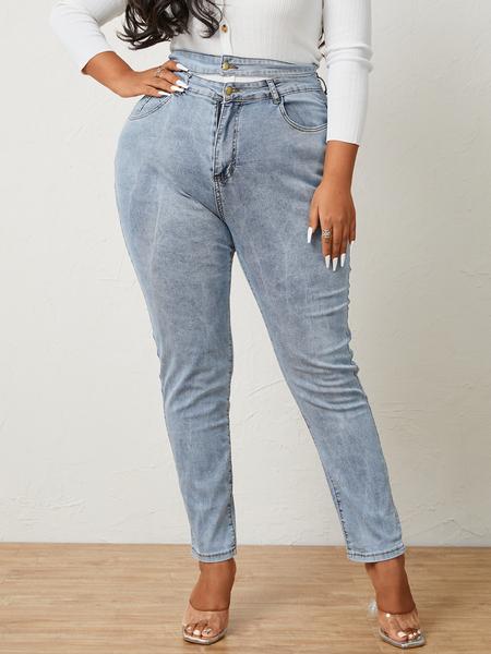 Yoins Plus Size Side Pockets Cut Out Pants
