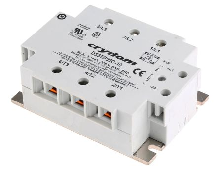 Sensata / Crydom 50 A rms Solid State Relay, Instantaneous, Panel Mount, SCR, 530 V rms Maximum Load