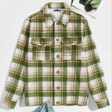 Jacke mit Knopfen vorn, Taschen Klappe und Karo Muster