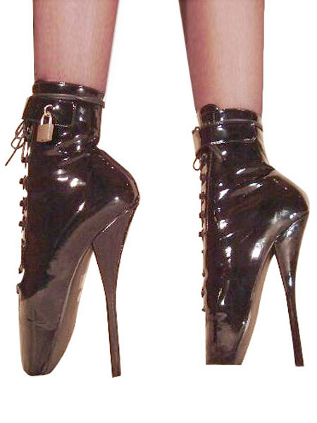 Milanoo Black High Heel Boots Women Patent Leather Lace Up Sexy Ballet Boots