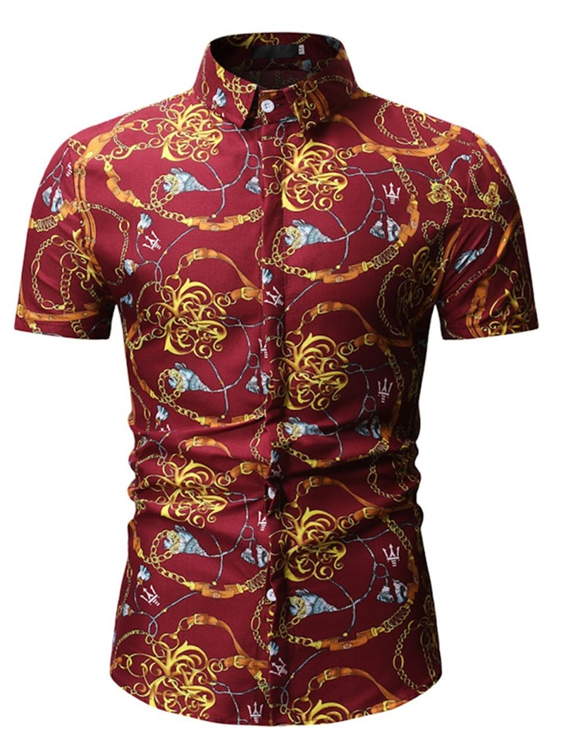 Ericdress Color Block Lapel Casual Mens Single-Breasted Shirt