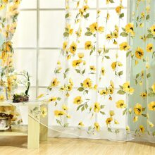 1pc Flower Print Clear Curtain