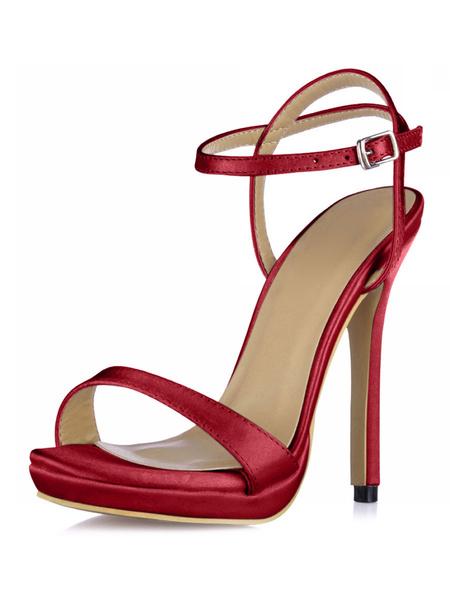 Milanoo High Heel Sandals Womens Ivory Imitated Silk Open Toe Slingback Stiletto Heels Sandals
