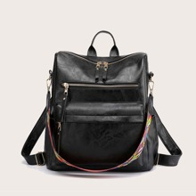 Zip Front Backpack With Detachable Strap