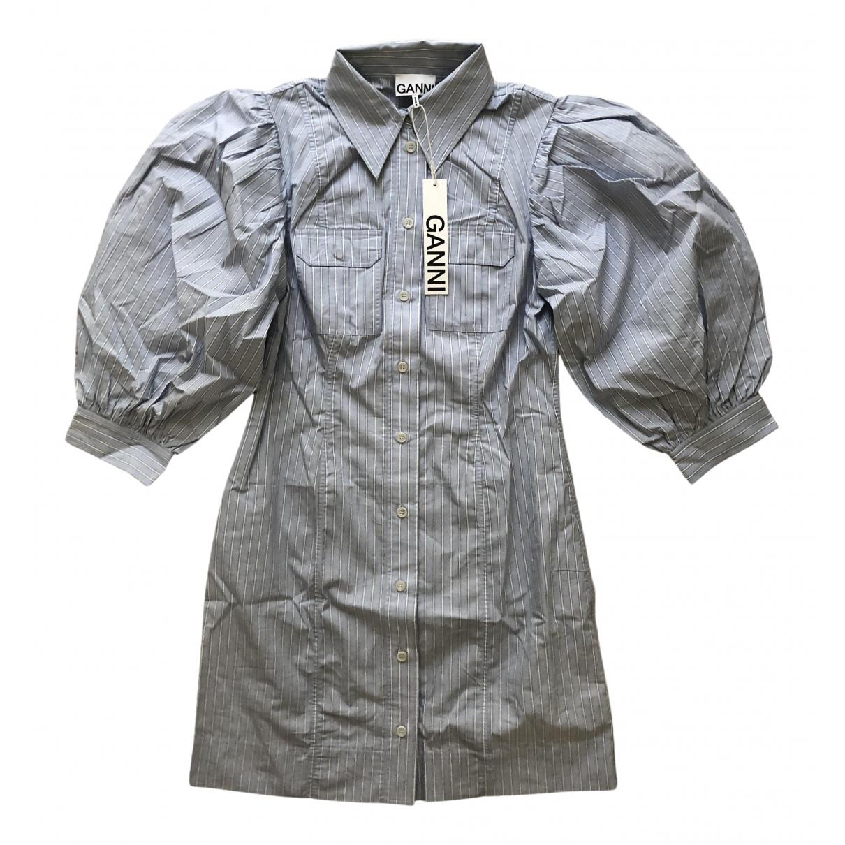 Ganni - Robe Spring Summer 2020 pour femme en coton - bleu