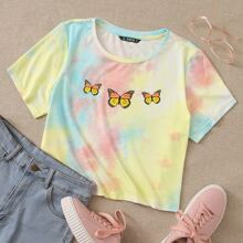 T-Shirt mit Schmetterling Muster und Batik