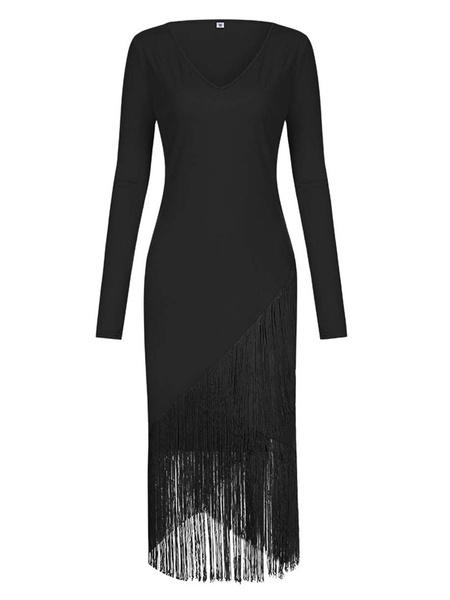 Milanoo Bodycon Dresses Light Pink Long Sleeves Fringe Casual V-Neck Irregular Slim Fit Dress Sheath Dress