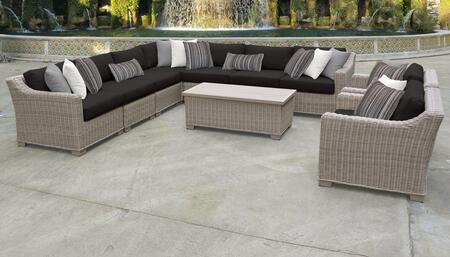 Coast Collection COAST-10a-BLACK 10-Piece Patio Set 10a with 1 Corner Chair   4 Armless Chair   1 Storage Coffee Table   2 Club Chair   1 Left Arm