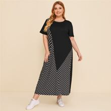 Plus Striped Panel Tee Dress