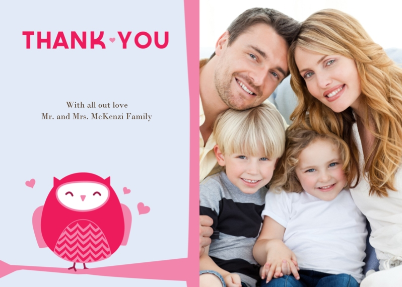 Thank You Cards 5x7 Folded Cards, Standard Cardstock 85lb, Card & Stationery -Owl'll Be Thanking You Thank You
