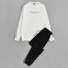 Men Slogan Graphic Striped Tape Detail Pullover & Sweatpants Set