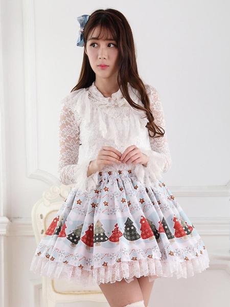 Milanoo Blue Polyester Lace Elegant Lolita Skirts