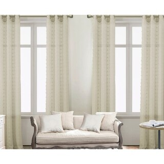 Colorado Solid Clipped Doily Grommet Curtain Panel Pairs (Set of 4) - (4x) 38 x 84 in. (total width 76 in.) (Taupe)