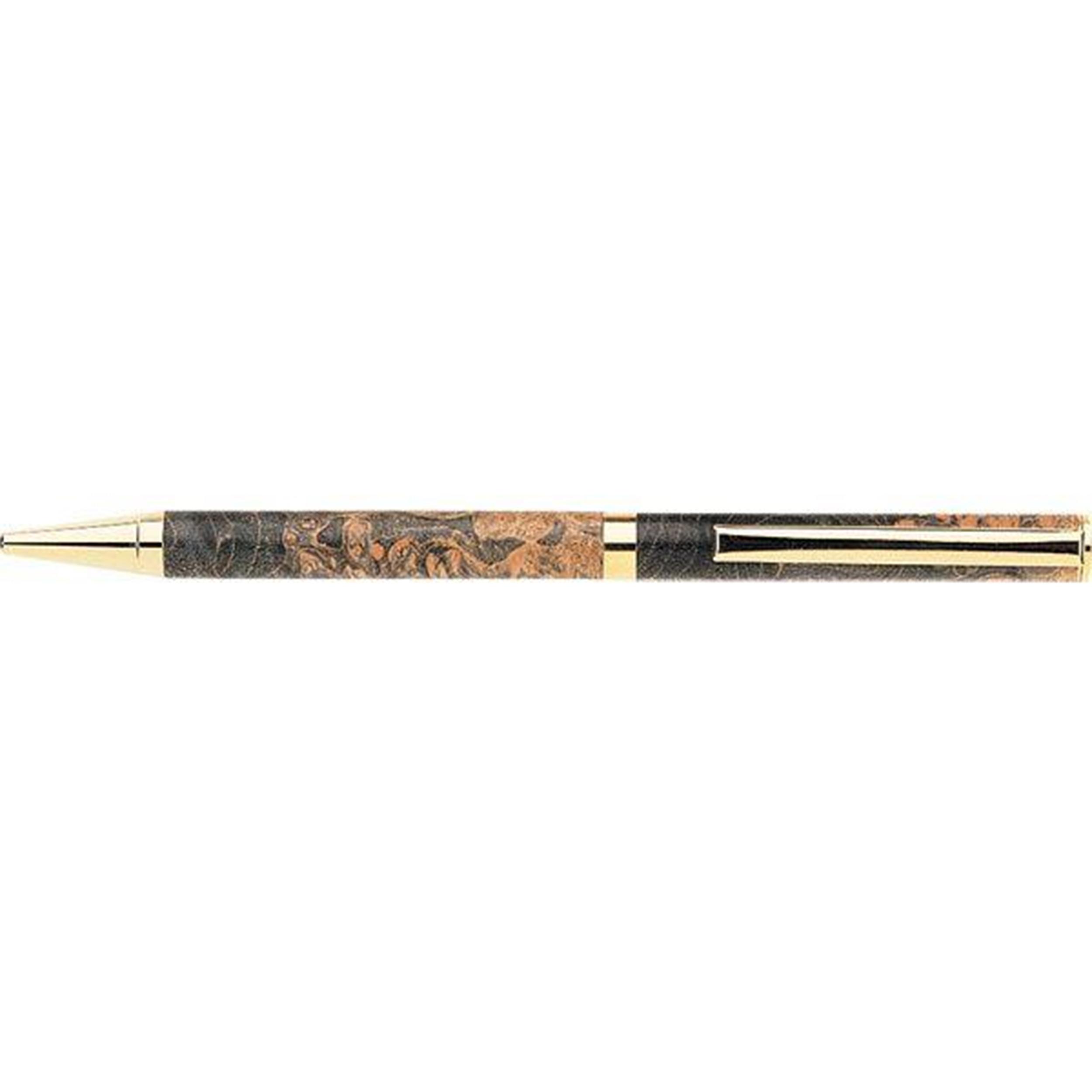 7mm Slim Style Solid Clip Ballpoint Pen Kit - Cobalt Gold