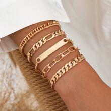 5pcs Bar Chain Bracelet
