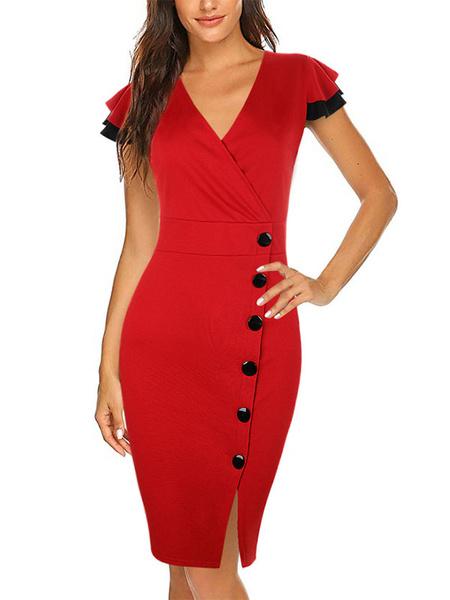 Milanoo Vestidos ajustados Mangas cortas rojas Vestido con cuello en V sexy Vestido ajustado Vestido tubo