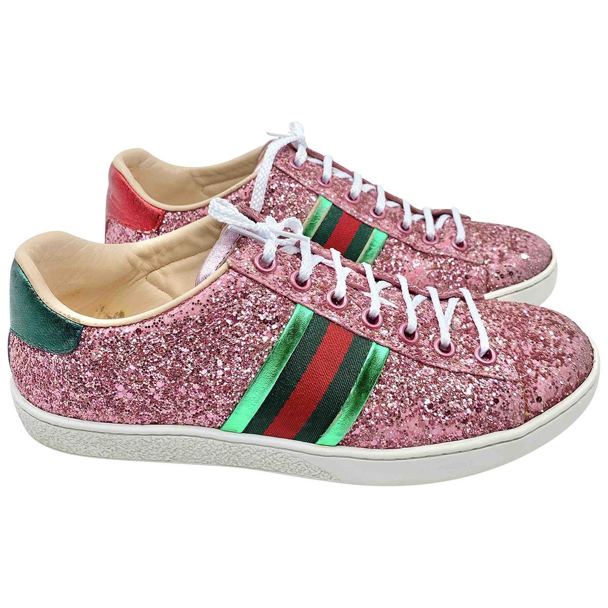 Gucci Ace Pink Glitter Trainers for Women 36 EU