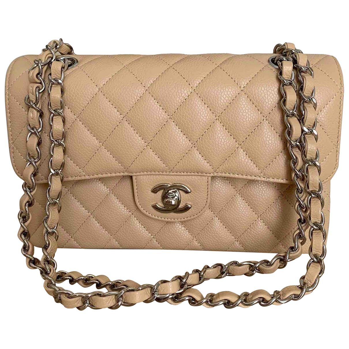 Chanel Timeless/Classique Handtasche in  Beige Leder