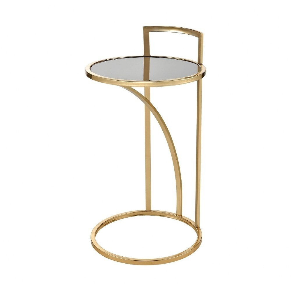 Round Accent Table in Gold Black finish with C-Table Base - Material Glass Metal  Gold/Black Finish (Gold Black - Glass)