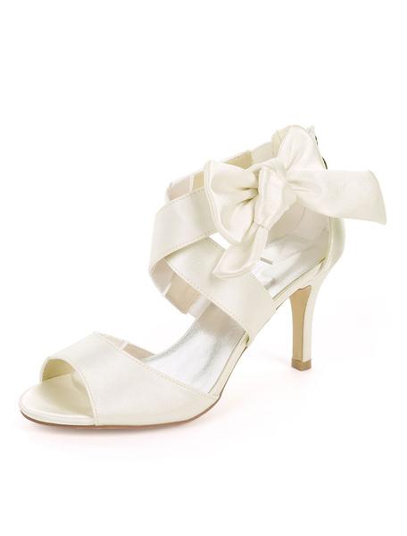 Milanoo Zapatos de novia de saten Zapatos de Fiesta de tacon de stiletto Zapatos Color champaña Zapatos de boda de puntera abierta 8.5cm con nudos