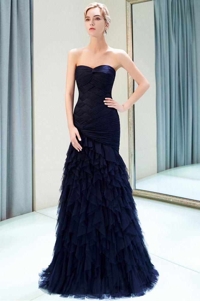 MARIANNE | Mermaid Sweetheart Strapless Draped Tulle Long Evening Dresses