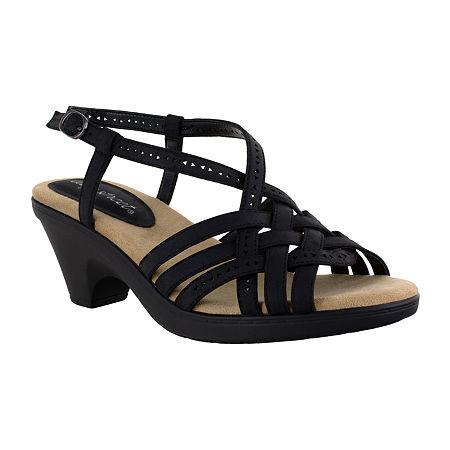 Easy Street Womens Jackson Heeled Sandals, 7 1/2 Wide, Black