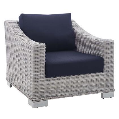 Conway Collection EEI-3972-LGR-NAV Outdoor Patio Wicker Rattan Armchair in Light Gray Navy