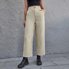 Pantalones de pana con bolsillo unicolor