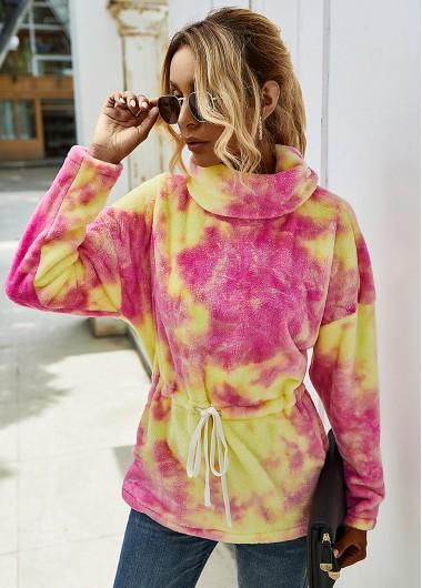 Tie Dye Print Plush Turtleneck Sweatshirt - M
