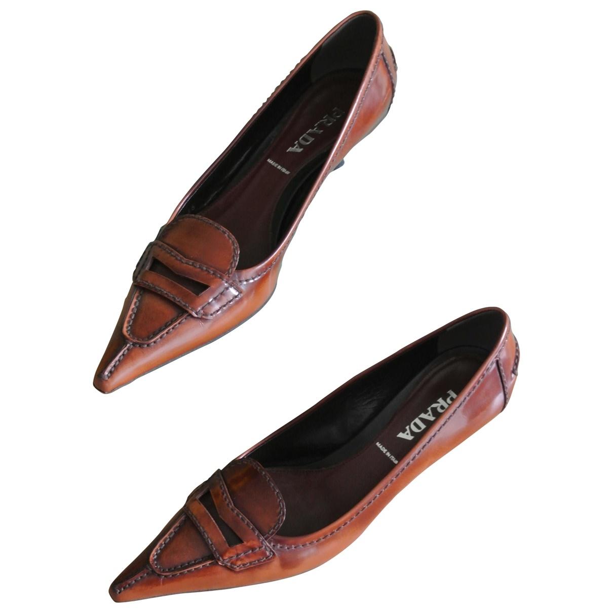 Prada Opanca Brown Patent leather Heels for Women 36 EU