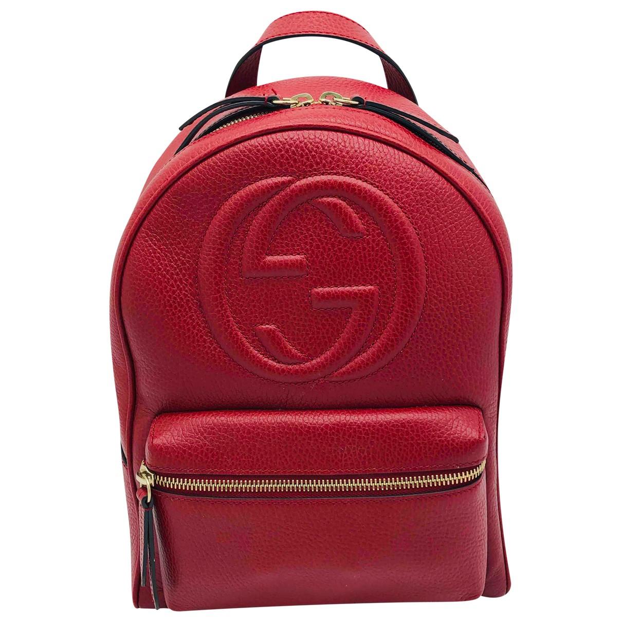 Gucci - Sac a dos Soho pour femme en cuir - rouge